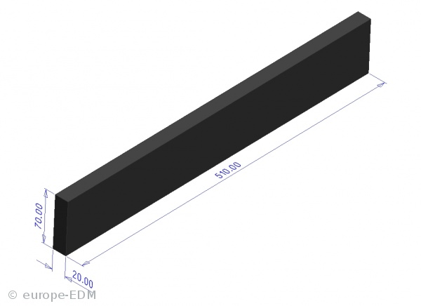 Graphitstange HK-2 20x70x 510 mm / Nut 20mm