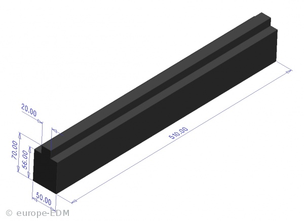 Graphitstange HK-2 50x70x 510 mm / Nut 20mm