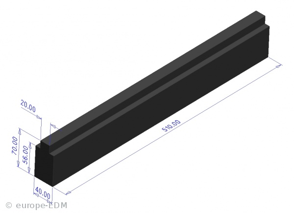 Graphitstange HK-2 40x70x 510 mm / Nut 20mm